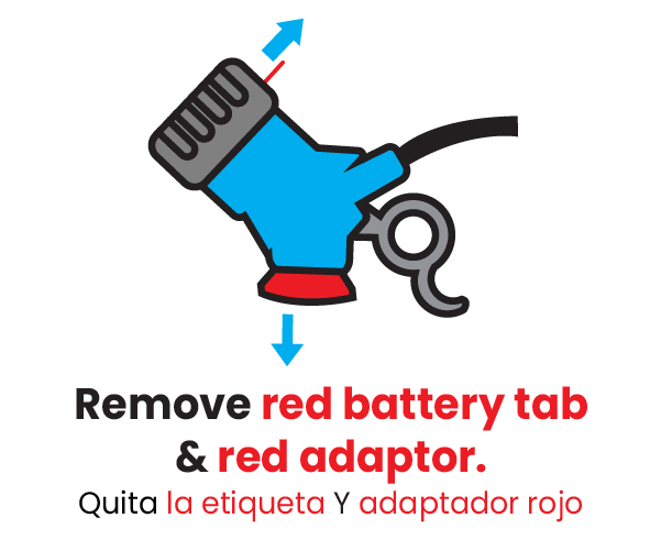 Mister Freeze step 1 remove red battery tab & red adaptor
